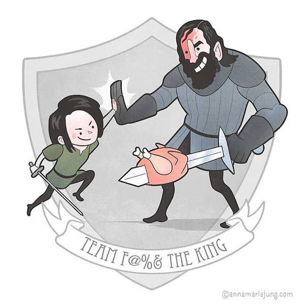 Game of Thrones (GOT) example #413: Cute, Illustrated Teams From 'Game Of Thrones' Give Each Other High-Fives
